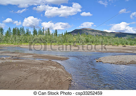 Stock Images of Landscape of the river with sandbanks River Tonel.
