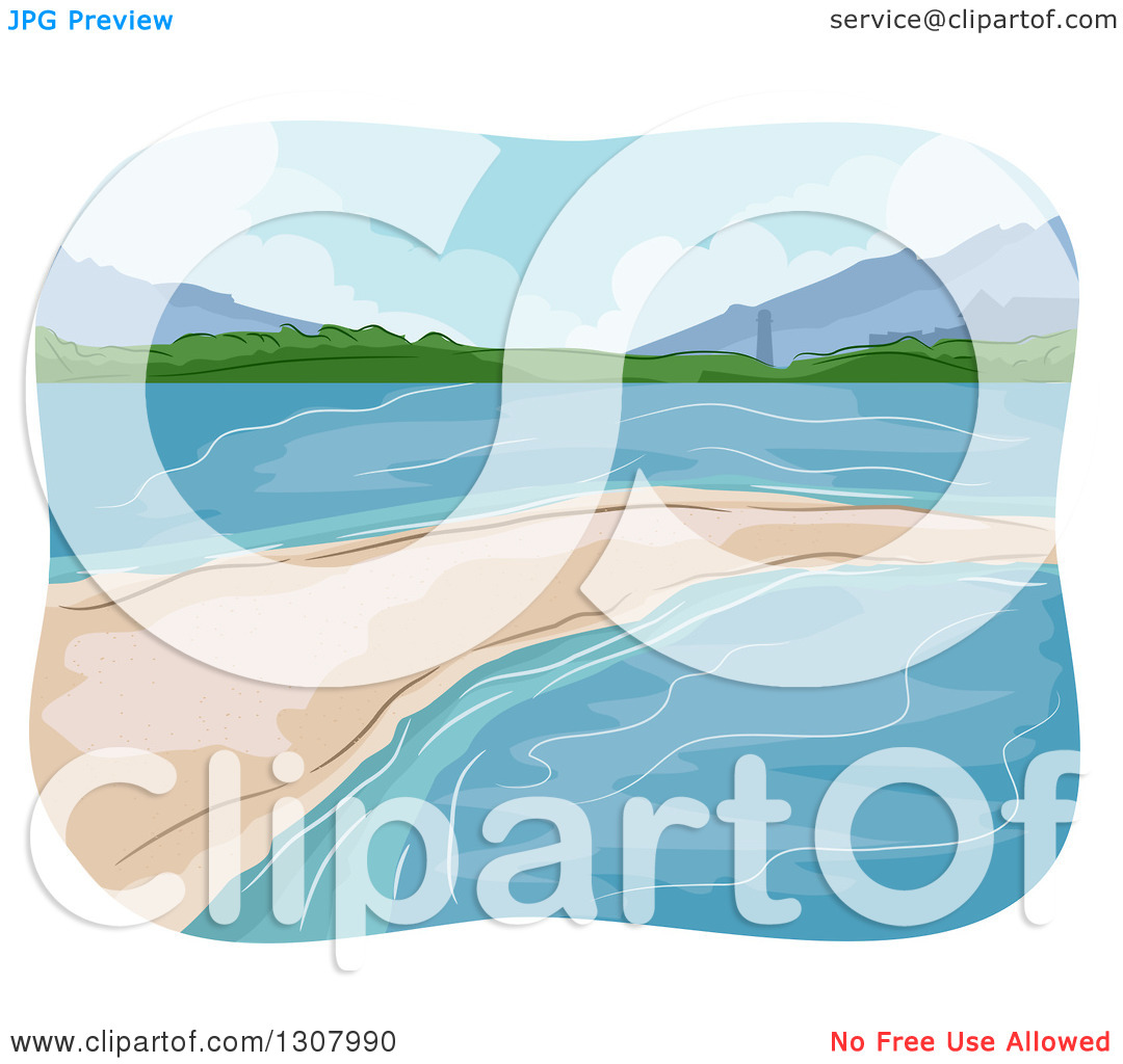 Clipart of a Sketched Sand Bar in the Ocean.