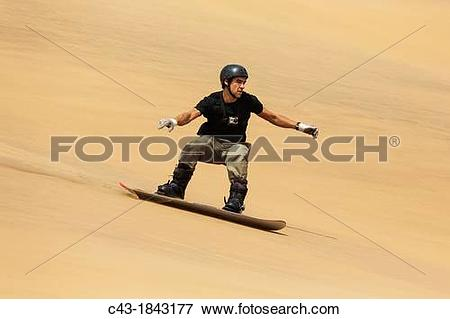 Picture of Sand boarding in the dunes of the Namib Desert near the.