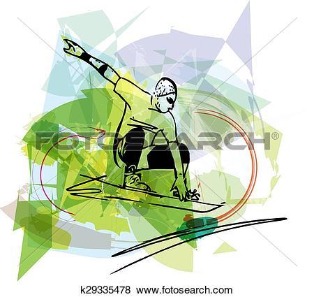 Clip Art of Sandboarding illustration k29335478.