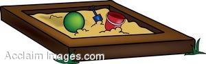 Clip Art of a Wooden Sandbox.