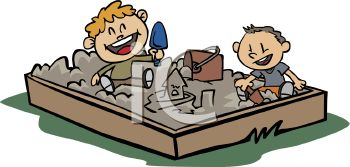 Royalty Free Clip Art Image: Two Kids Playing in a Sandbox.