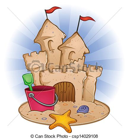 Vector Clipart of Sand Castle Beach Cartoon.