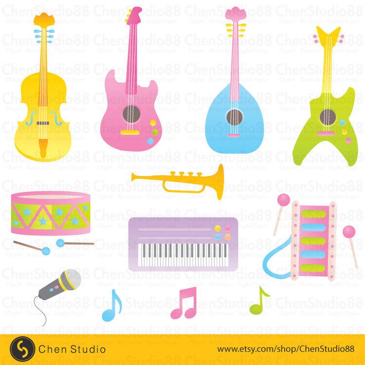 Musical instrument vector Digital Clipart Instant Download EPS Et.