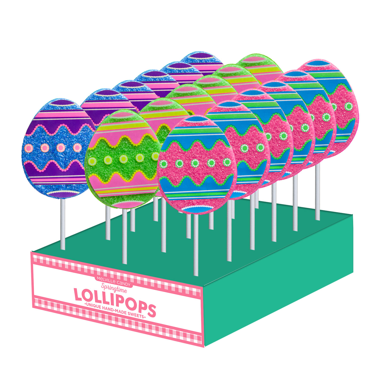 Sanded Decal Egg Lollipops by Melville Candy.