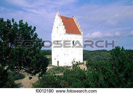 Stock Photography of Denmark, Jutland, Skagen, the Sanded church.