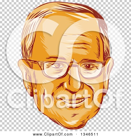 Clipart of a Retro Styled Orange Face of Bernie Sanders.