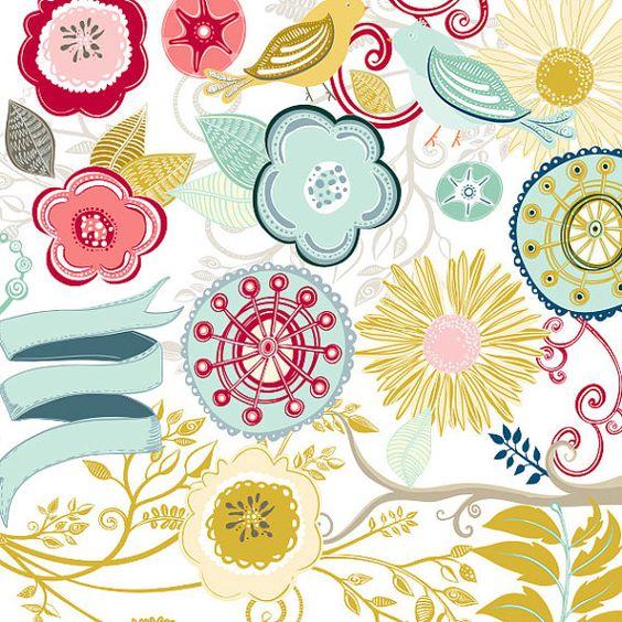 Sanderson floral clipart.