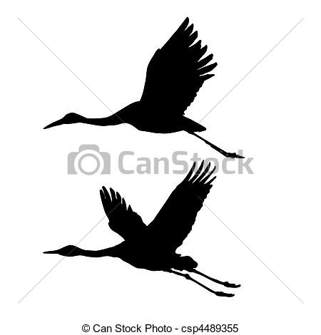Sandhill Crane Flying Clip Art.