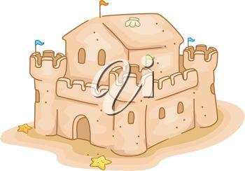Cartoon Clip Art Illustration of a Sand Castle.