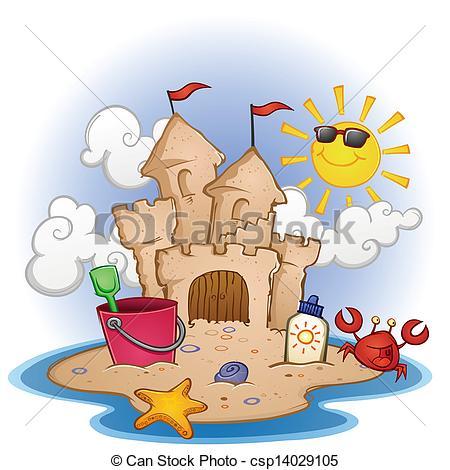 Vector Clipart of Sand Castle Beach Cartoon.