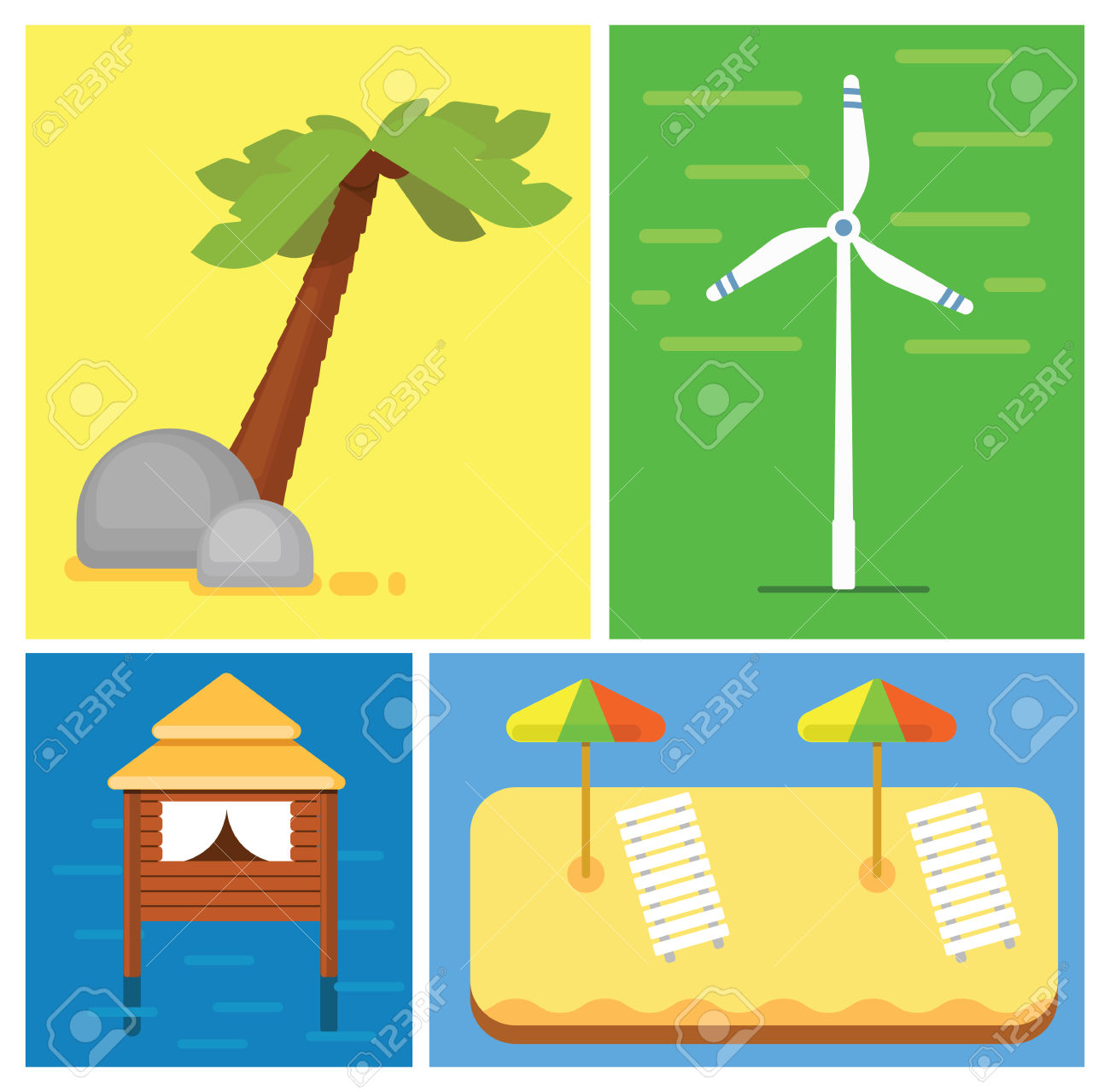 Beach Vacation. Sun Loungers With Parasols On The Sand. House.