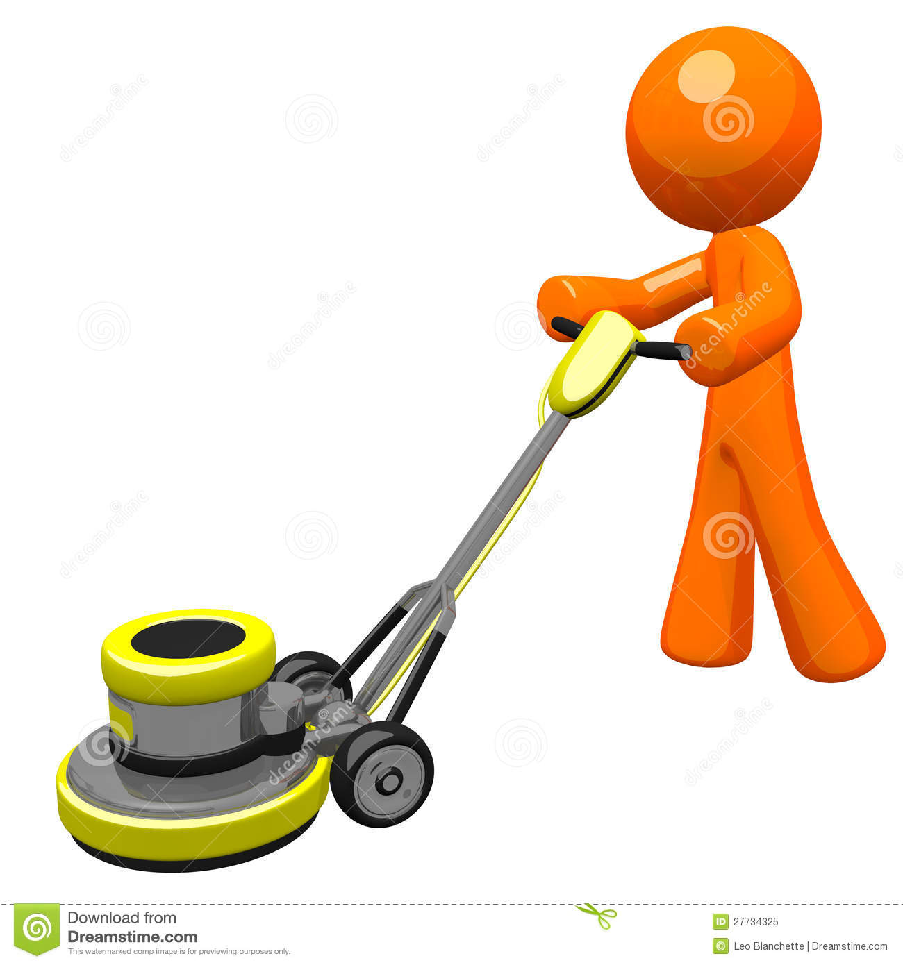 Clip Art of Man Sanding Floors.
