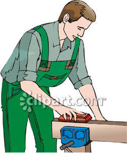Man Sanding a Piece of Wood Royalty Free Clipart Picture.
