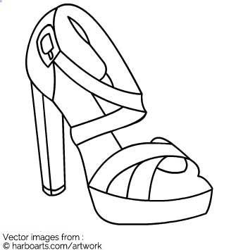 Download : Block heel sandal outline.