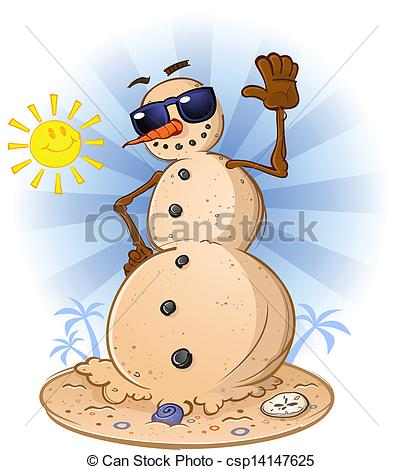 Vector Illustration of Beach Sand Snowman Cartoon.