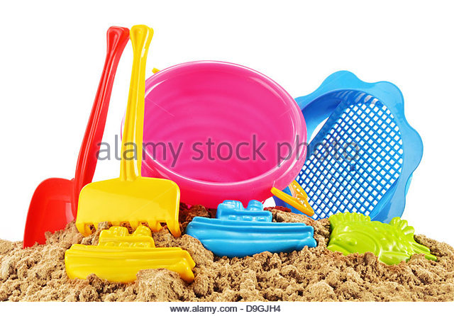 Plastic Toys On Sandpit Stock Photos & Plastic Toys On Sandpit.