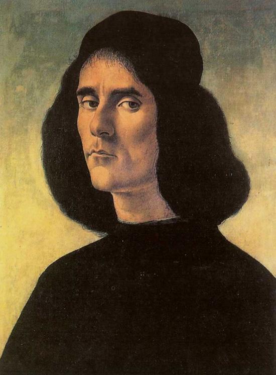 Portrait of Michele Marullo Tarcagniota by Sandro Botticelli.