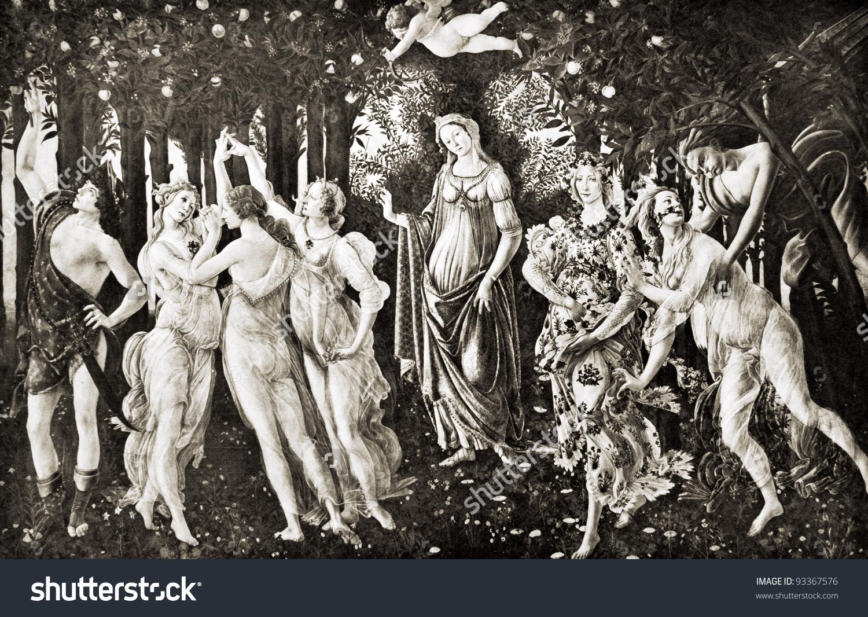 Sandro Botticelli La Primavera Spring Reproduction Stock Photo.