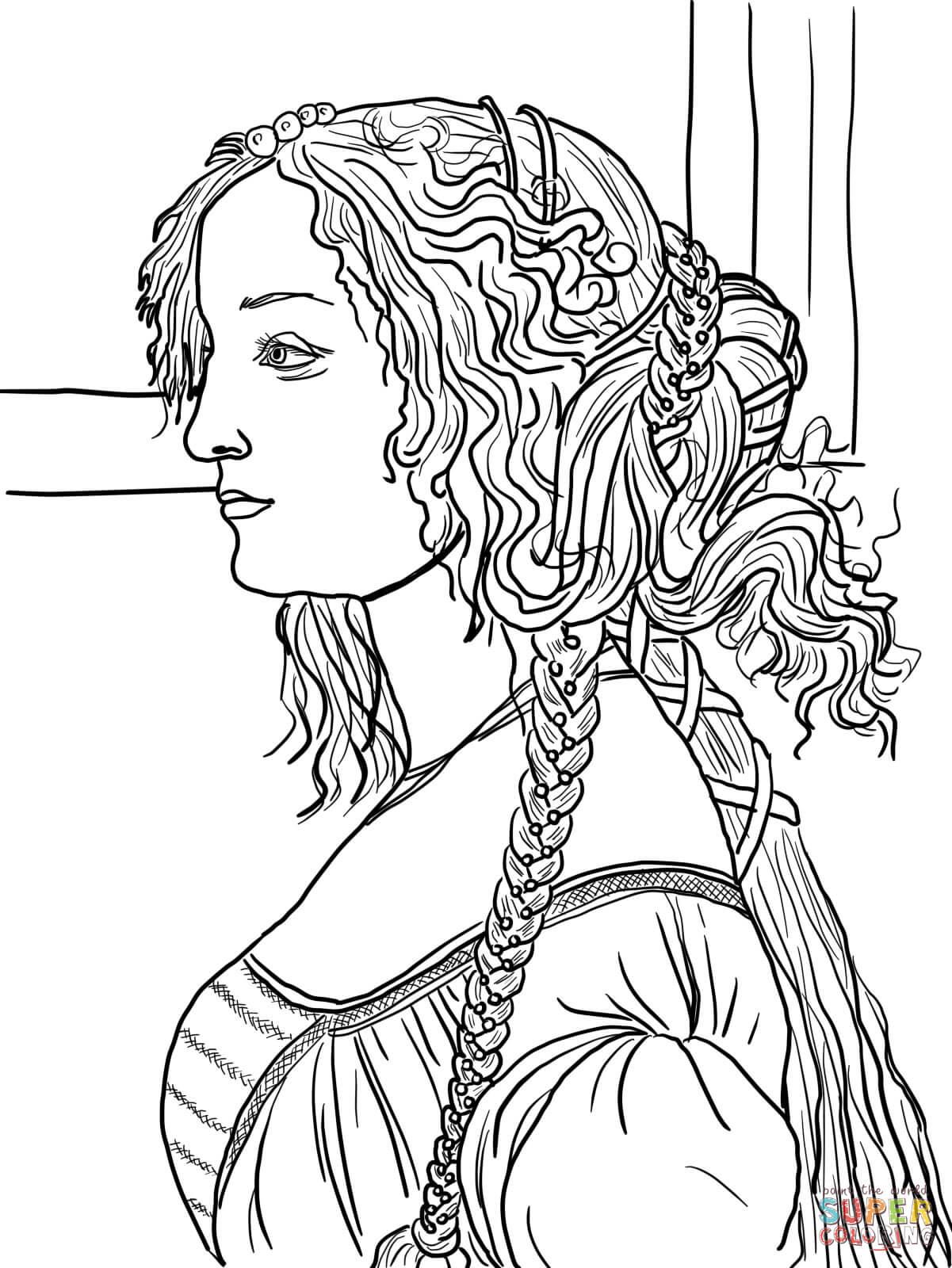 Portrait of Simonetta Vespucci by Sandro Botticelli coloring page.