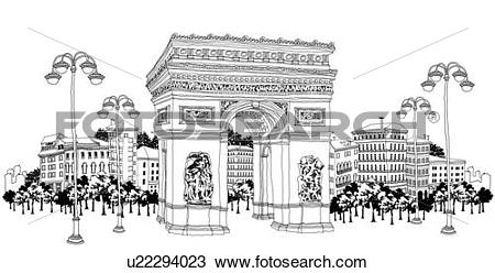 Drawing of Decorative stone gate by buildings u22294023.