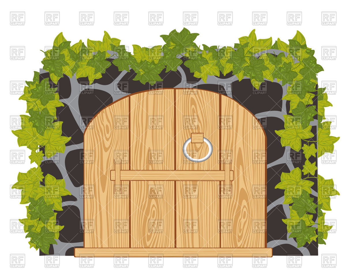 Wall from stone and wooden gates Vector Image #91205.