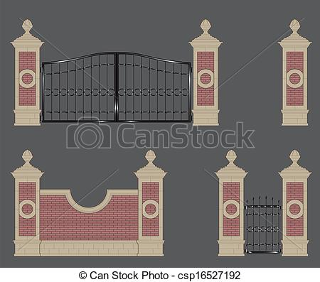 Vector Clip Art of garden gateway, stone pillars with forged gate.