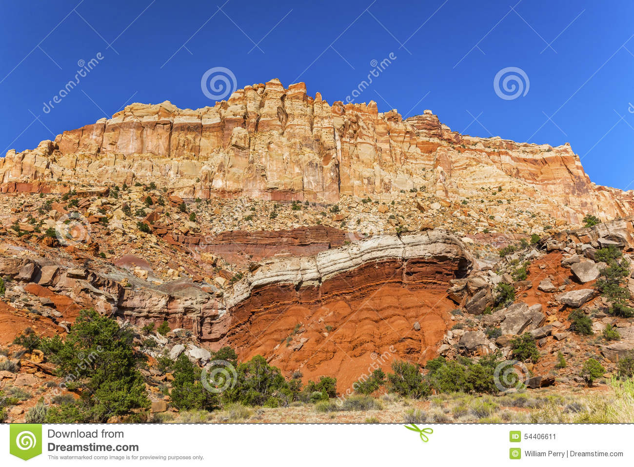 Sandstone Mountain Capitol Reef National Park Torrey Utah Stock.