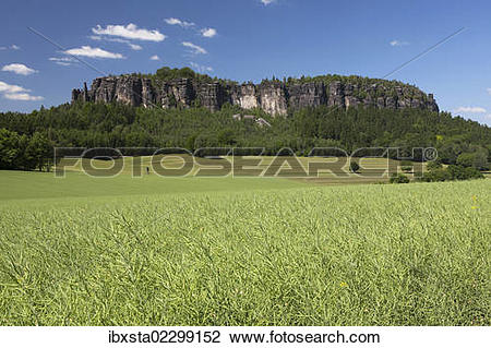 Stock Photo of Pfaffenstein low table mountain, Elbe Sandstone.