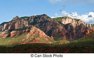 Stock Photo of beautiful vibrant scenic sandstone mountain range.