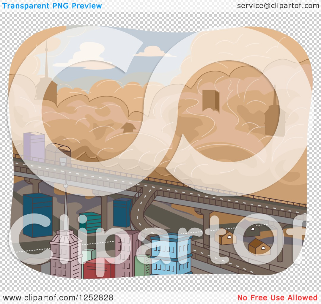 Clipart of a Sandstorm Approaching a City.