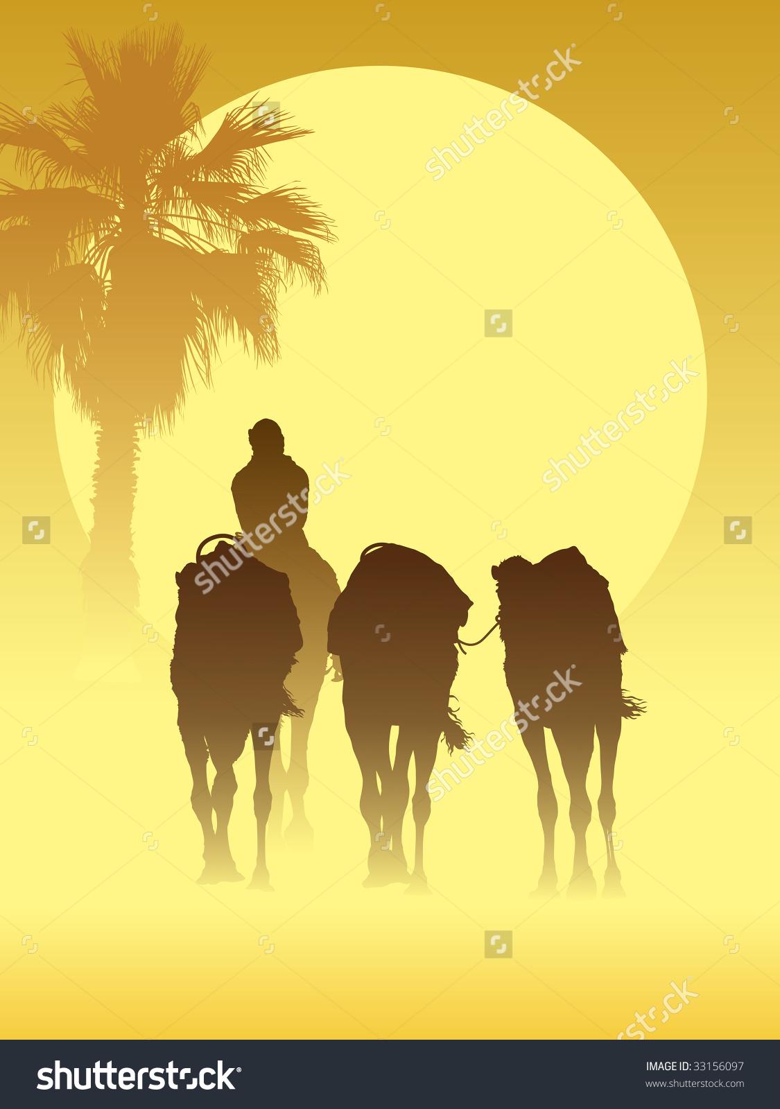 Camel Caravan Going Through Sandstorm Sahara Stock Vector 33156097.