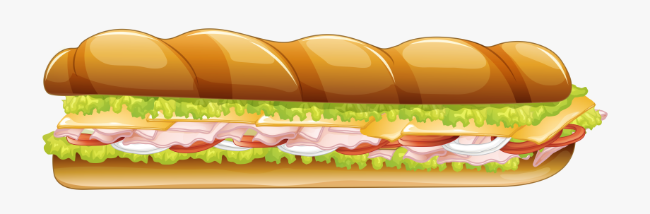 Long Sandwich Vector Clipart Image.