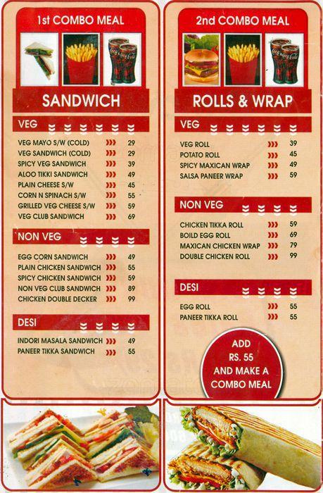 Sandwich Express Menu, Menu for Sandwich Express, Gulmohar Colony.