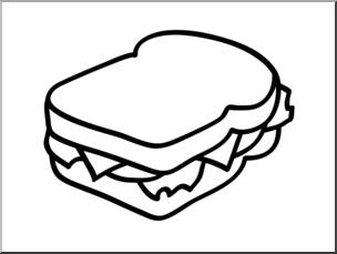 Clip Art: Basic Words: Sandwich B&W Unlabeled I abcteach.com.