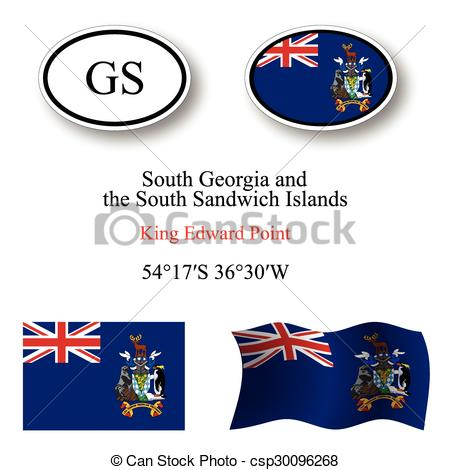 Clip Art Vector of south georgia and south sandwich islands icons.