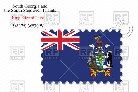 Postage stamp with flag of South Georgia and the South Sandwich.