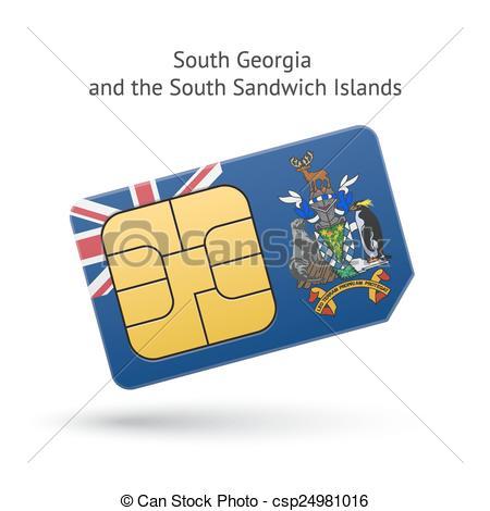 Vector Clip Art of South Georgia and Sandwich Islands phone sim.