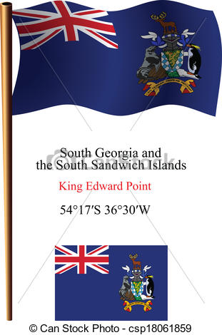 Clipart Vector of south georgia and south sandwich islands wavy.