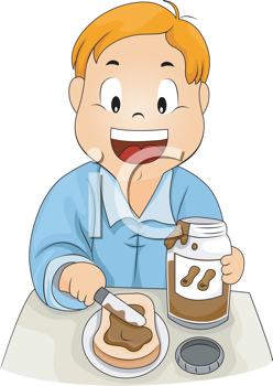 Royalty Free Clipart Image of a Child Making a Peanut Butter.