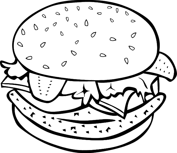 Cheese burger sandwich vector clip art.