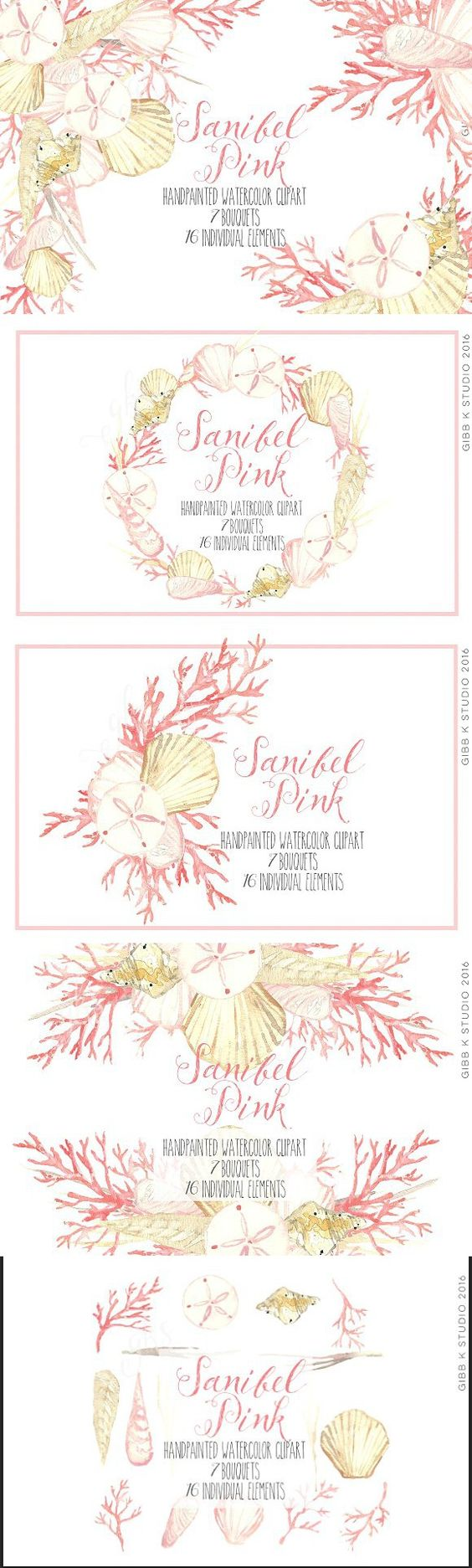 Sanibel Pink Seashell clipart. Wedding Card Templates.