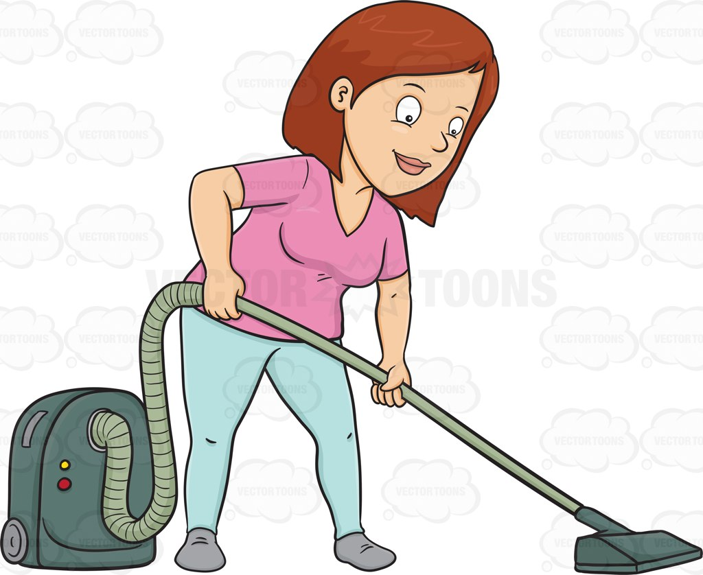A Woman Using A Vacuum Cleaner To Sanitize The Floor Cartoon Clipart.