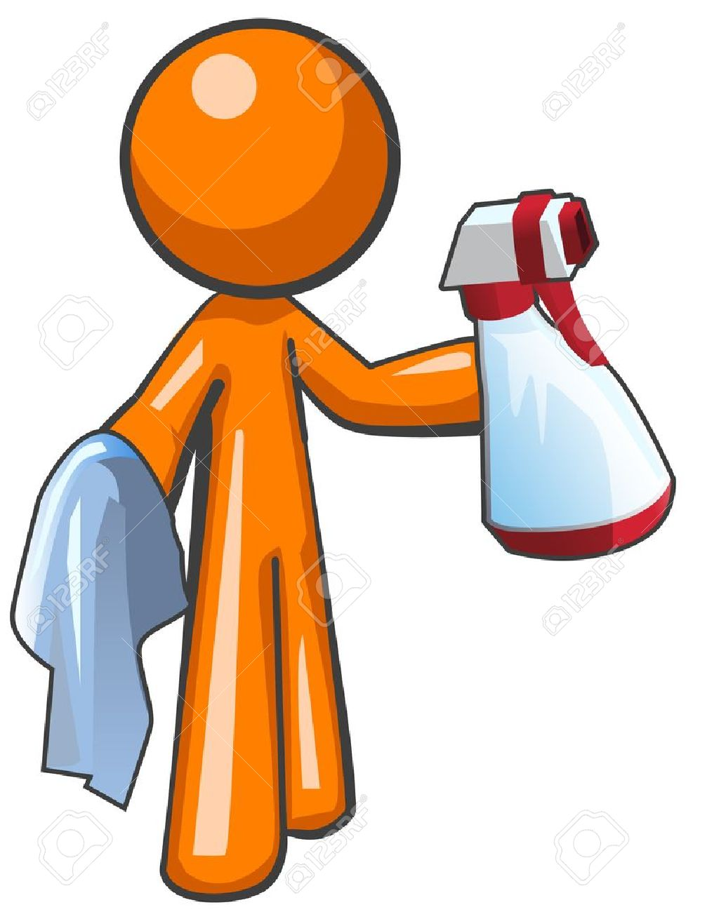 Orange Man With A Sanitation Spray Bottle And Cloth, Ready To.
