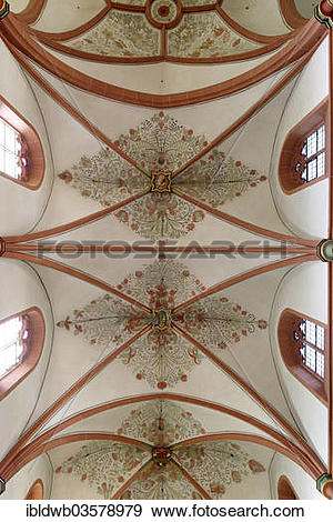 """Stock Photograph of """"Vaulted ceiling of the parish church of Sankt."""