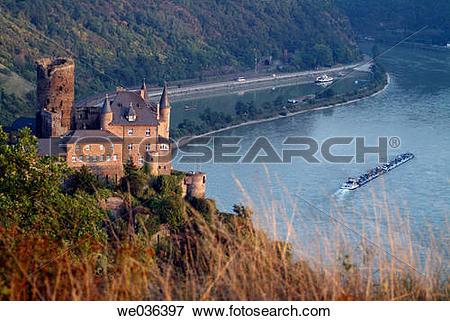 Picture of Katz Castle, St. Goarshausen, Rhine River, Hessen.
