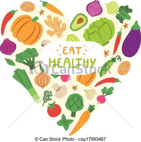 Clip Art de vectores de sano, corazón, vegetal, comer, señal.