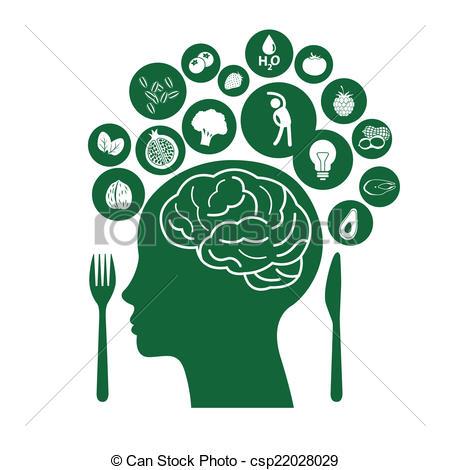 Illustrazioni vettoriali di sano, cervello, cibi.