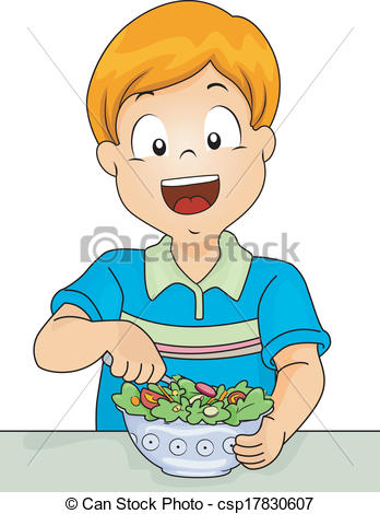 Vector Clipart of Salad Boy.