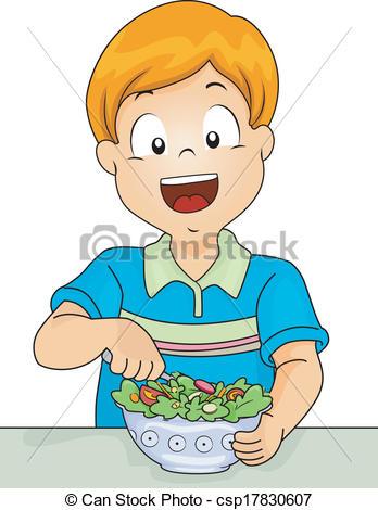 Vector Clipart of Salad Boy.